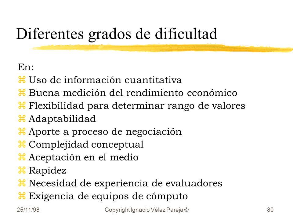 25/11/98Copyright Ignacio Vélez Pareja ©80 Diferentes grados de dificultad En: zUso de información cuantitativa zBuena medición del rendimiento económ