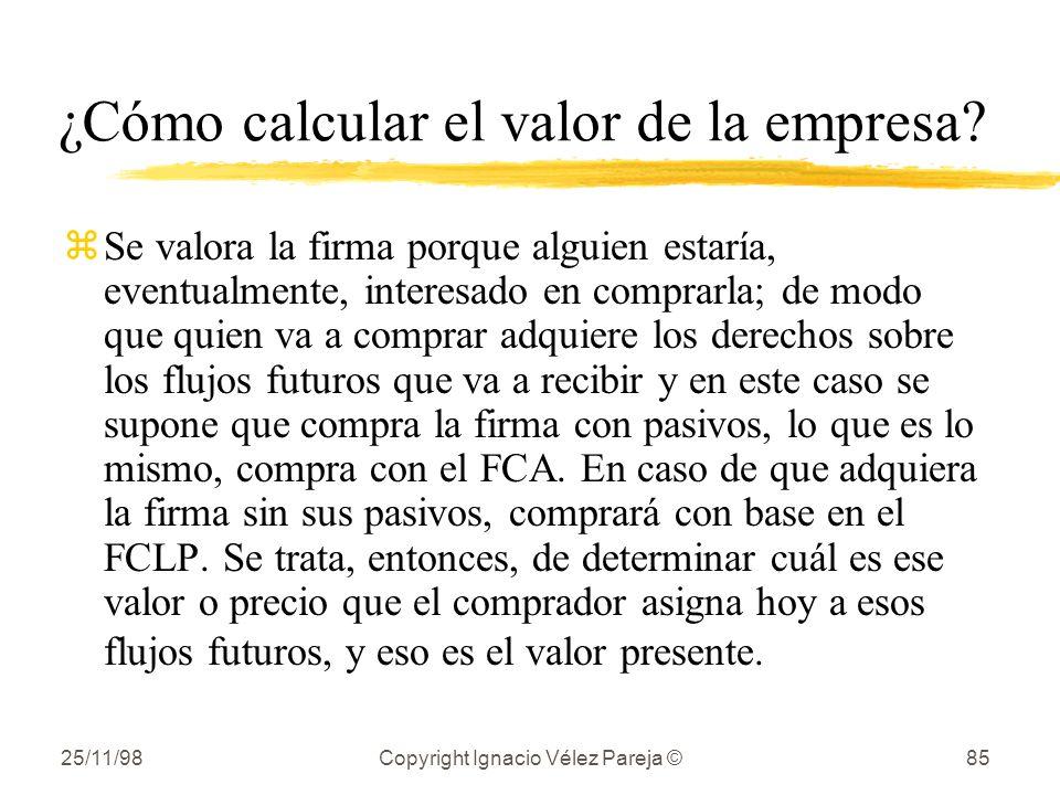 25/11/98Copyright Ignacio Vélez Pareja ©85 ¿Cómo calcular el valor de la empresa? zSe valora la firma porque alguien estaría, eventualmente, interesad