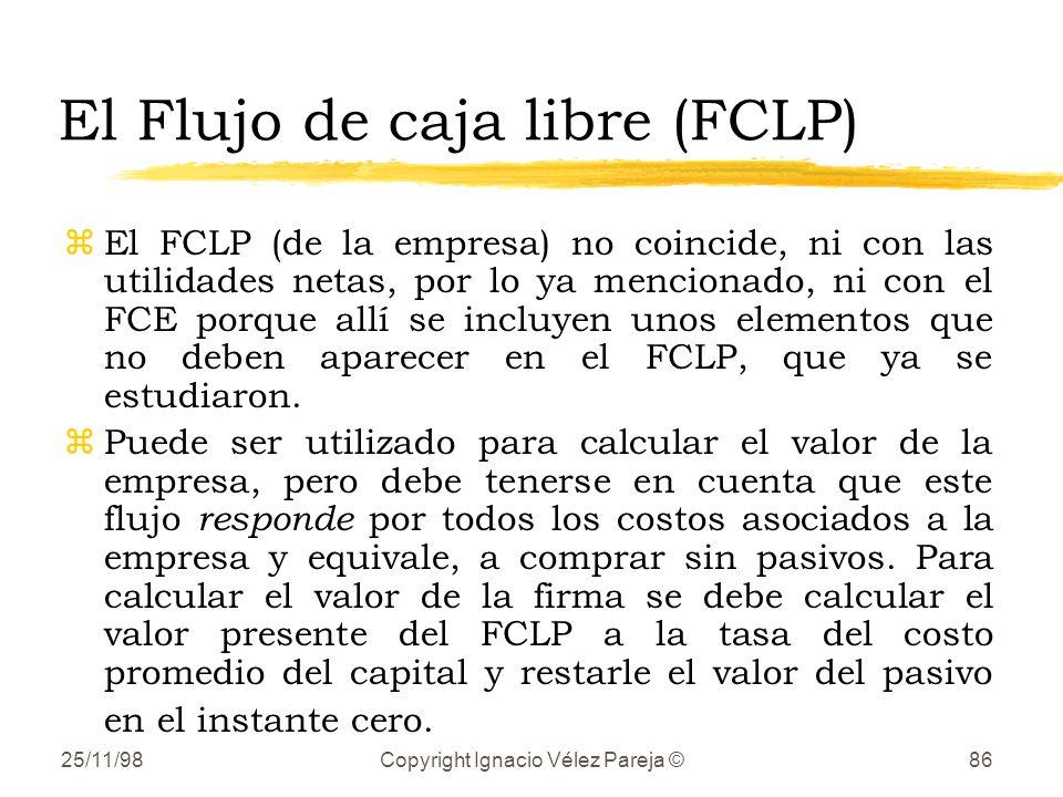 25/11/98Copyright Ignacio Vélez Pareja ©86 El Flujo de caja libre (FCLP) zEl FCLP (de la empresa) no coincide, ni con las utilidades netas, por lo ya mencionado, ni con el FCE porque allí se incluyen unos elementos que no deben aparecer en el FCLP, que ya se estudiaron.