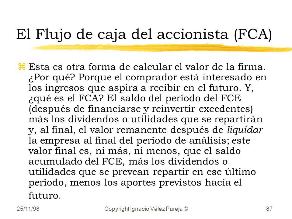 25/11/98Copyright Ignacio Vélez Pareja ©87 El Flujo de caja del accionista (FCA) zEsta es otra forma de calcular el valor de la firma. ¿Por qué? Porqu