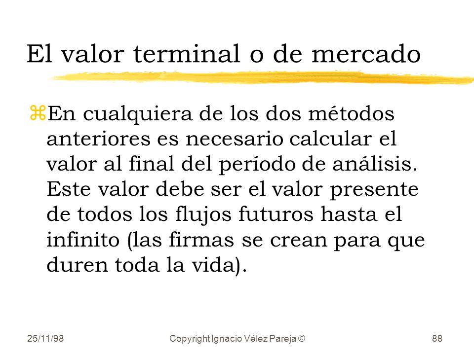 25/11/98Copyright Ignacio Vélez Pareja ©88 El valor terminal o de mercado zEn cualquiera de los dos métodos anteriores es necesario calcular el valor al final del período de análisis.