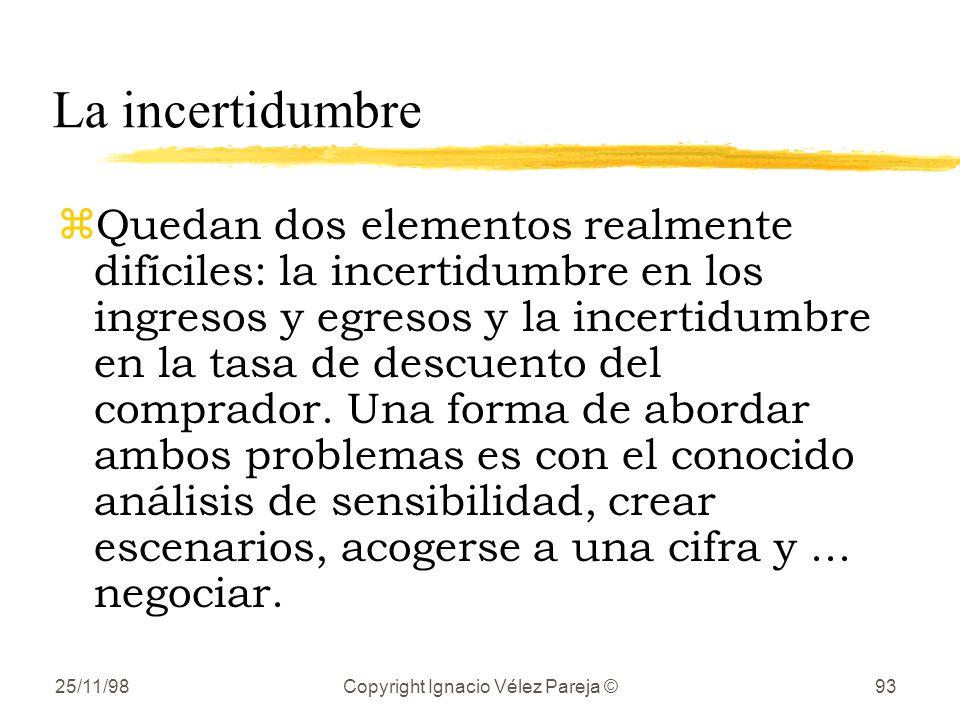 25/11/98Copyright Ignacio Vélez Pareja ©93 La incertidumbre zQuedan dos elementos realmente difíciles: la incertidumbre en los ingresos y egresos y la incertidumbre en la tasa de descuento del comprador.