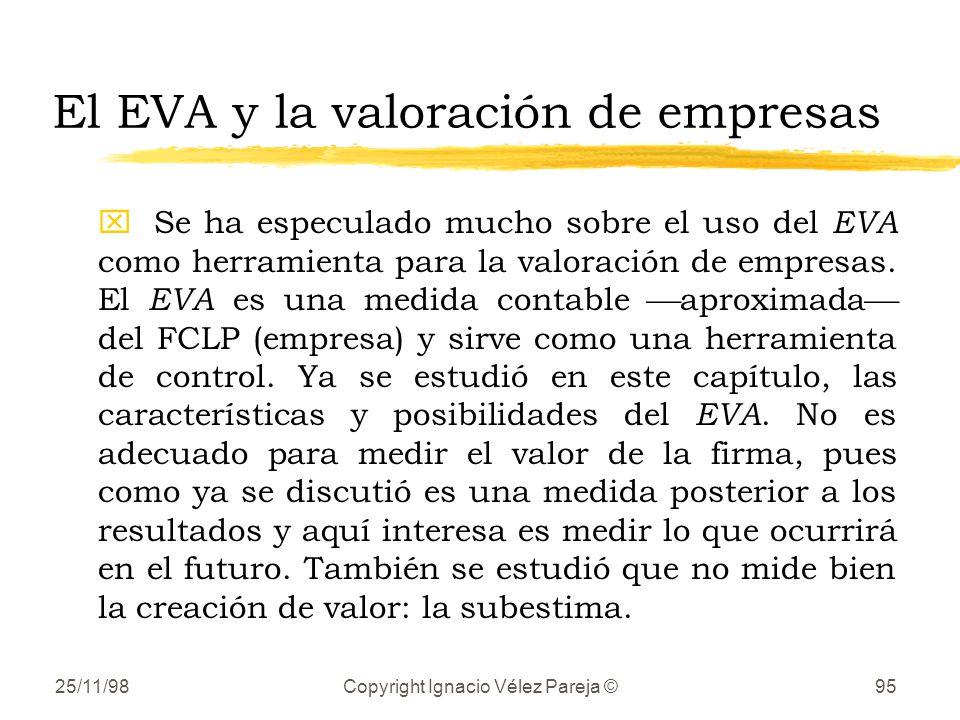 25/11/98Copyright Ignacio Vélez Pareja ©95 El EVA y la valoración de empresas xSe ha especulado mucho sobre el uso del EVA como herramienta para la va