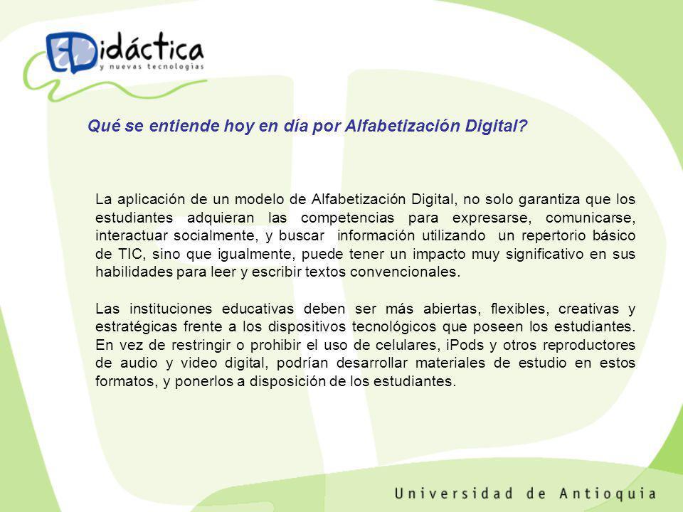 La aplicación de un modelo de Alfabetización Digital, no solo garantiza que los estudiantes adquieran las competencias para expresarse, comunicarse, i