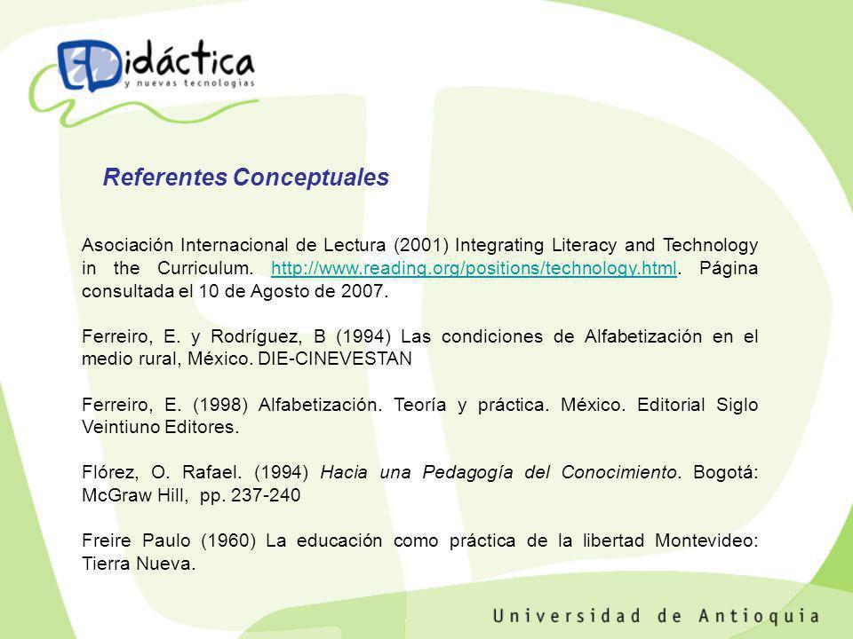 Asociación Internacional de Lectura (2001) Integrating Literacy and Technology in the Curriculum. http://www.reading.org/positions/technology.html. Pá