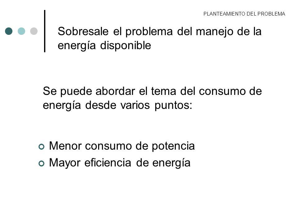 PLANTEAMIENTO DEL PROBLEMA Sobresale el problema del manejo de la energía disponible Se puede abordar el tema del consumo de energía desde varios punt