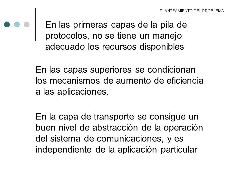 PLANTEAMIENTO DEL PROBLEMA El protocolo de transporte más popular es el TCP, que proporciona una comunicación confiable El protocolo se definió para redes cableadas, por lo que su operación decae cuando opera sobre una red inalámbrica