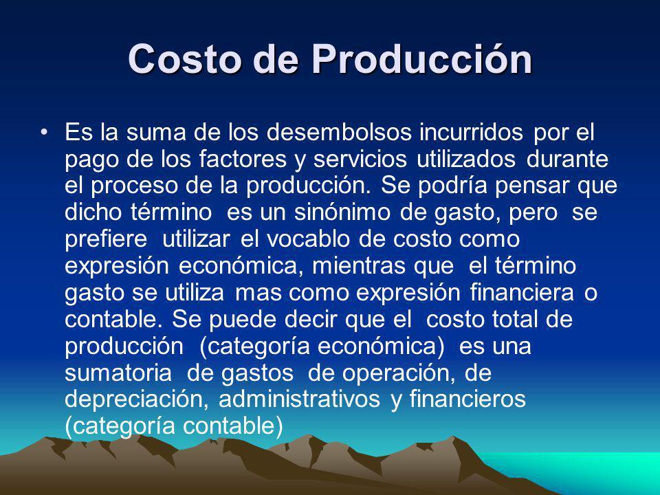 Costo de Producción Es la suma de los desembolsos incurridos por el pago de los factores y servicios utilizados durante el proceso de la producción. S