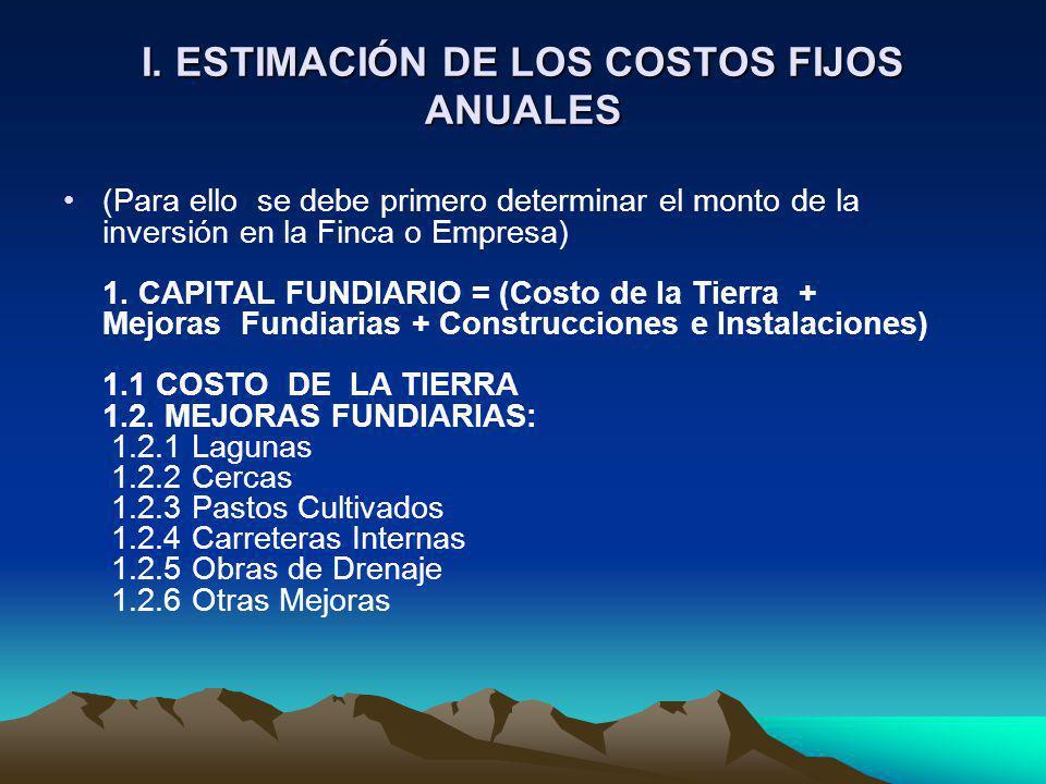 I. ESTIMACIÓN DE LOS COSTOS FIJOS ANUALES (Para ello se debe primero determinar el monto de la inversión en la Finca o Empresa) 1. CAPITAL FUNDIARIO =