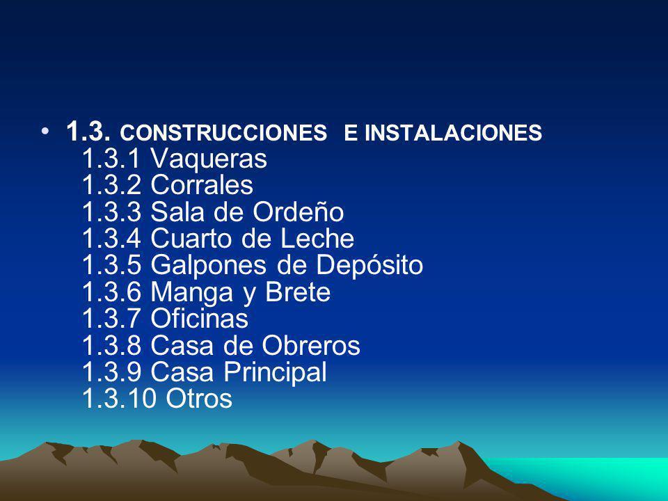 1.3. CONSTRUCCIONES E INSTALACIONES 1.3.1 Vaqueras 1.3.2 Corrales 1.3.3 Sala de Ordeño 1.3.4 Cuarto de Leche 1.3.5 Galpones de Depósito 1.3.6 Manga y
