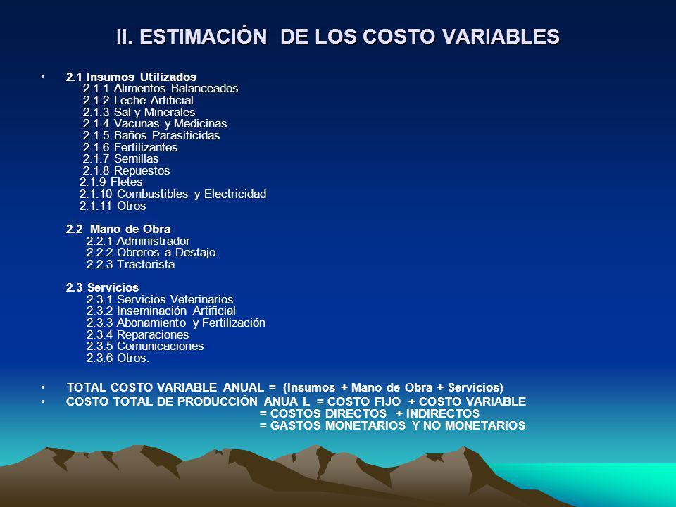 II. ESTIMACIÓN DE LOS COSTO VARIABLES 2.1 Insumos Utilizados 2.1.1 Alimentos Balanceados 2.1.2 Leche Artificial 2.1.3 Sal y Minerales 2.1.4 Vacunas y