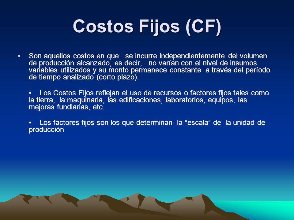 Costos Fijos (CF) Son aquellos costos en que se incurre independientemente del volumen de producción alcanzado, es decir, no varían con el nivel de in