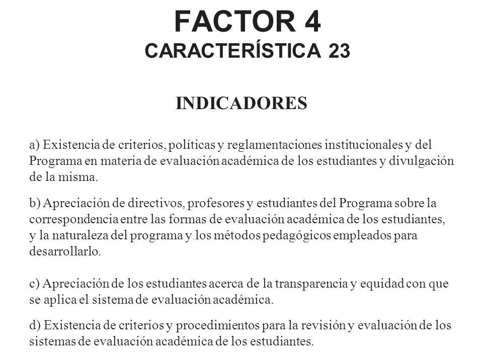 FACTOR 4 CARACTERÍSTICA 23 INDICADORES a) Existencia de criterios, políticas y reglamentaciones institucionales y del Programa en materia de evaluació