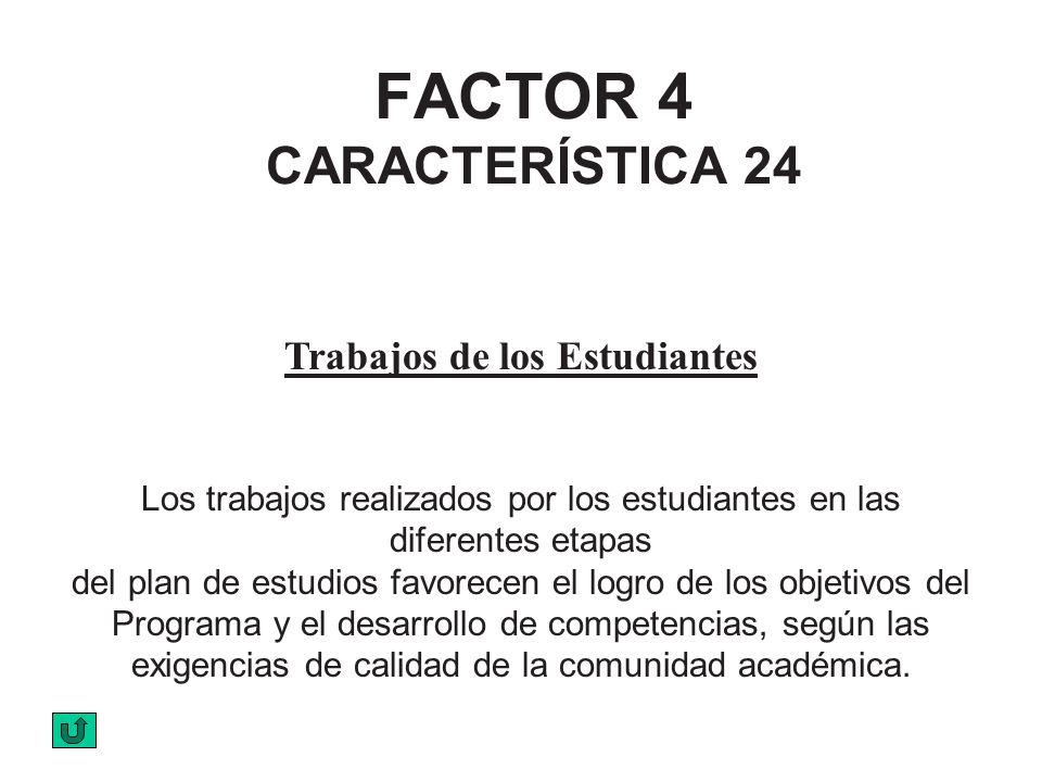 FACTOR 4 CARACTERÍSTICA 24 Trabajos de los Estudiantes Los trabajos realizados por los estudiantes en las diferentes etapas del plan de estudios favor