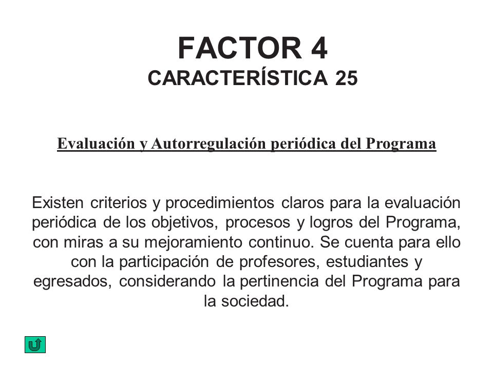 FACTOR 4 CARACTERÍSTICA 25 Evaluación y Autorregulación periódica del Programa Existen criterios y procedimientos claros para la evaluación periódica