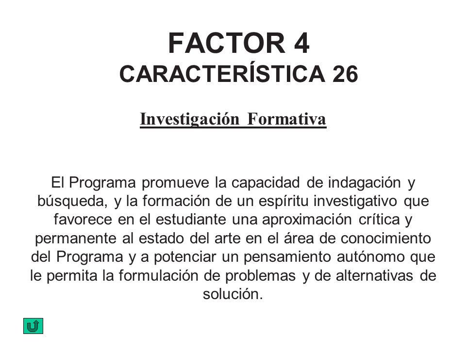 FACTOR 4 CARACTERÍSTICA 26 Investigación Formativa El Programa promueve la capacidad de indagación y búsqueda, y la formación de un espíritu investiga