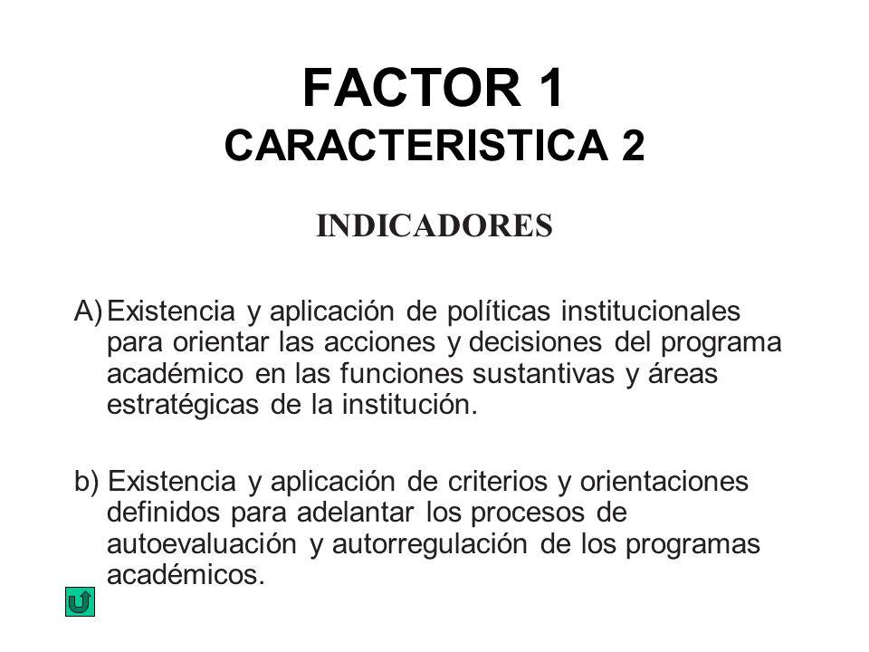 FACTOR 1 CARACTERISTICA 2 INDICADORES A)Existencia y aplicación de políticas institucionales para orientar las acciones y decisiones del programa acad