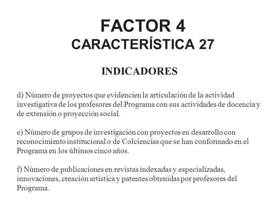 FACTOR 4 CARACTERÍSTICA 27 INDICADORES d) Número de proyectos que evidencien la articulación de la actividad investigativa de los profesores del Progr