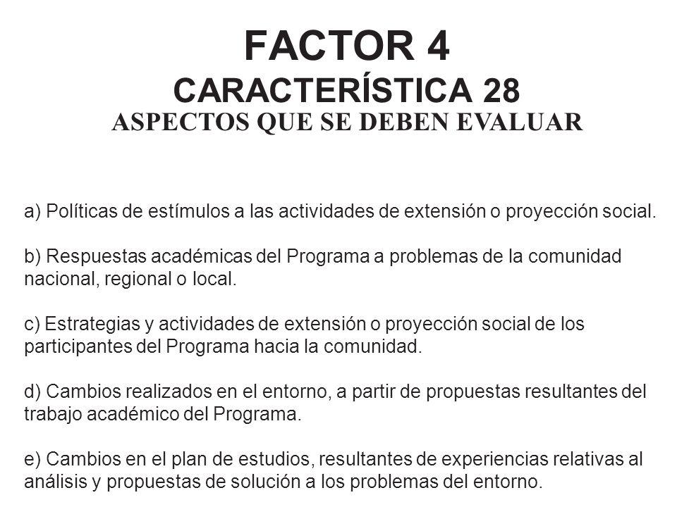 FACTOR 4 CARACTERÍSTICA 28 ASPECTOS QUE SE DEBEN EVALUAR a) Políticas de estímulos a las actividades de extensión o proyección social. b) Respuestas a