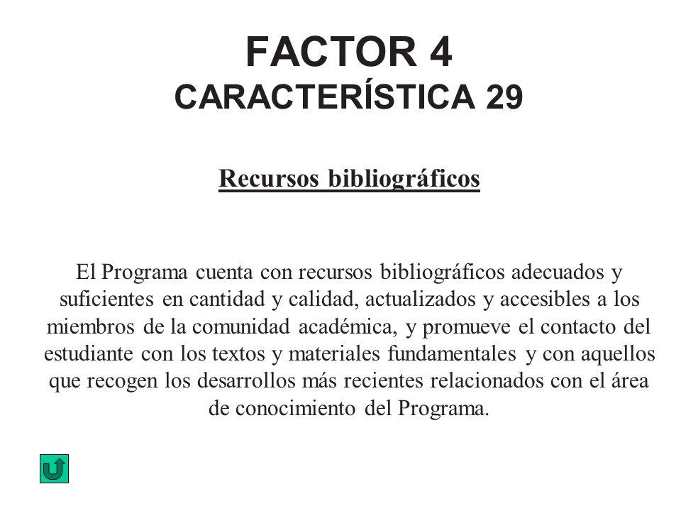FACTOR 4 CARACTERÍSTICA 29 Recursos bibliográficos El Programa cuenta con recursos bibliográficos adecuados y suficientes en cantidad y calidad, actua