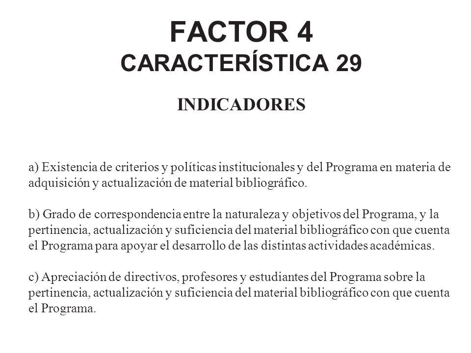 FACTOR 4 CARACTERÍSTICA 29 INDICADORES a) Existencia de criterios y políticas institucionales y del Programa en materia de adquisición y actualización