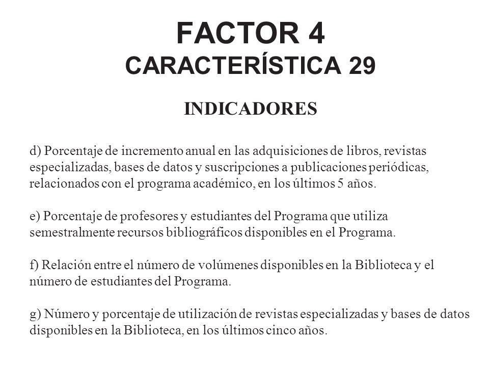 FACTOR 4 CARACTERÍSTICA 29 INDICADORES d) Porcentaje de incremento anual en las adquisiciones de libros, revistas especializadas, bases de datos y sus
