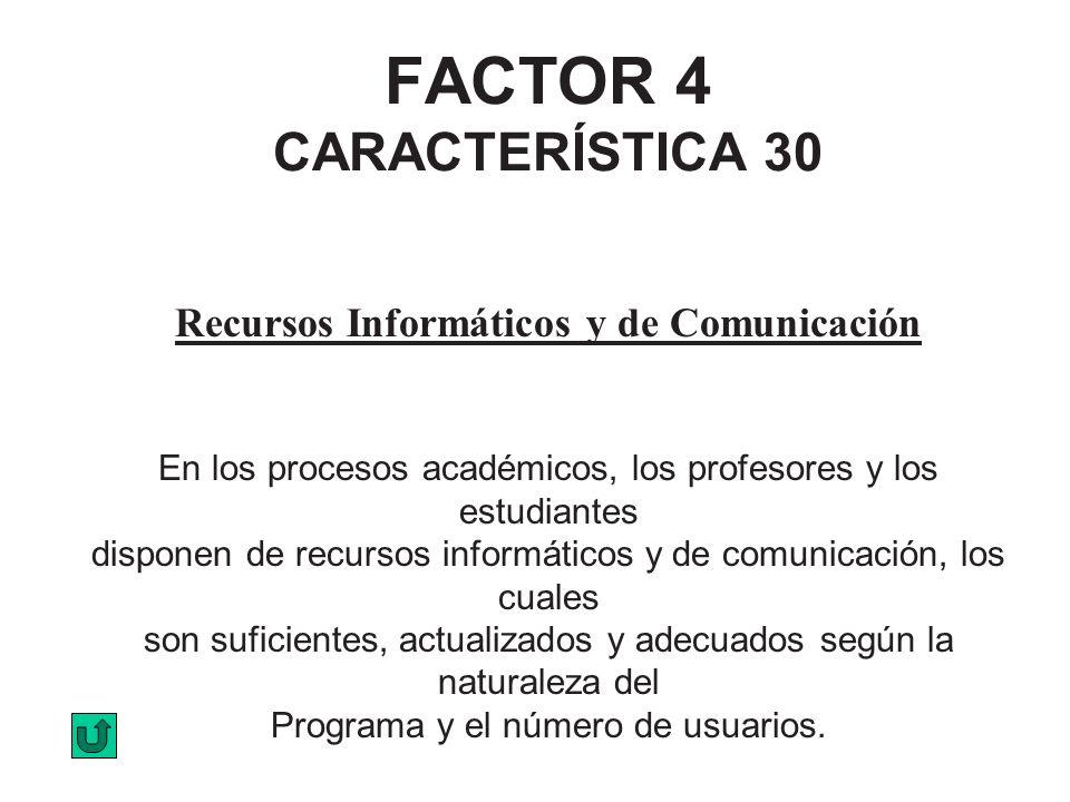 FACTOR 4 CARACTERÍSTICA 30 Recursos Informáticos y de Comunicación En los procesos académicos, los profesores y los estudiantes disponen de recursos i
