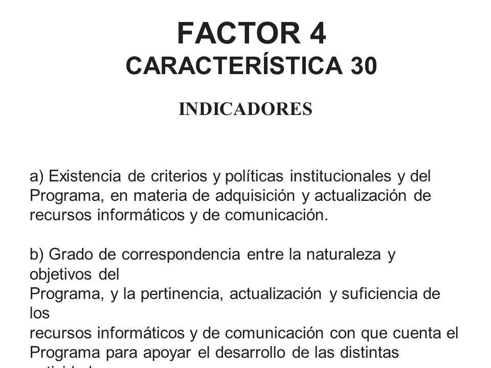 FACTOR 4 CARACTERÍSTICA 30 INDICADORES a) Existencia de criterios y políticas institucionales y del Programa, en materia de adquisición y actualizació
