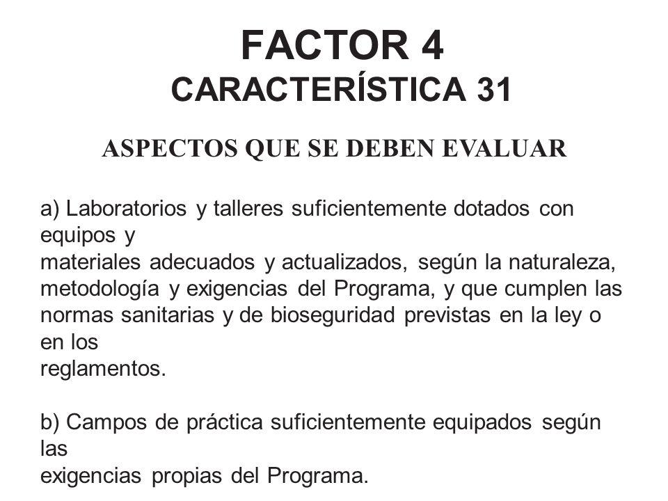 FACTOR 4 CARACTERÍSTICA 31 ASPECTOS QUE SE DEBEN EVALUAR a) Laboratorios y talleres suficientemente dotados con equipos y materiales adecuados y actua