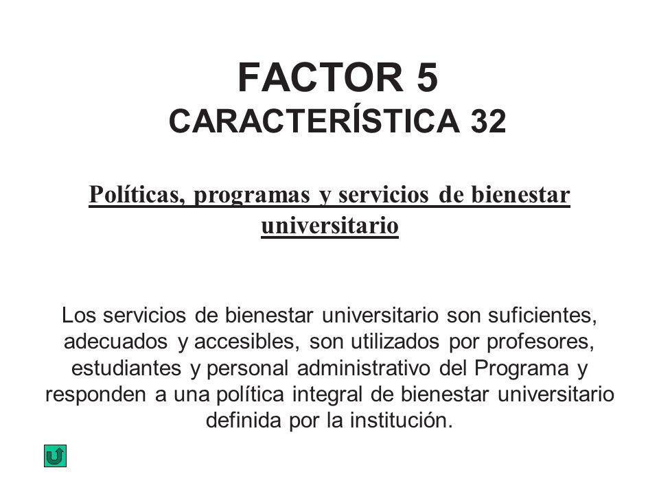 FACTOR 5 CARACTERÍSTICA 32 Políticas, programas y servicios de bienestar universitario Los servicios de bienestar universitario son suficientes, adecu