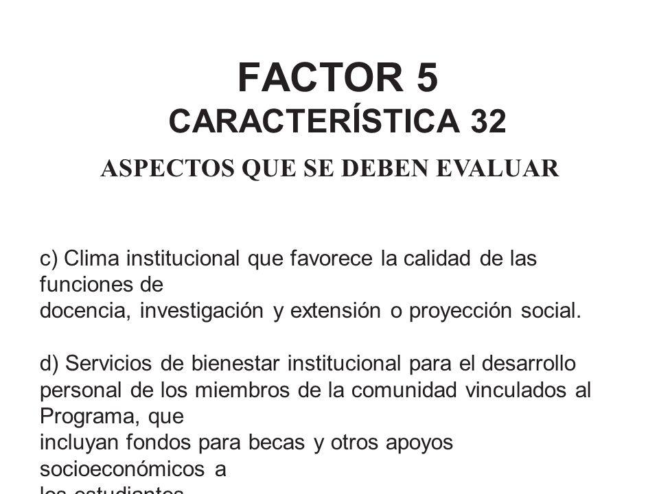 FACTOR 5 CARACTERÍSTICA 32 ASPECTOS QUE SE DEBEN EVALUAR c) Clima institucional que favorece la calidad de las funciones de docencia, investigación y