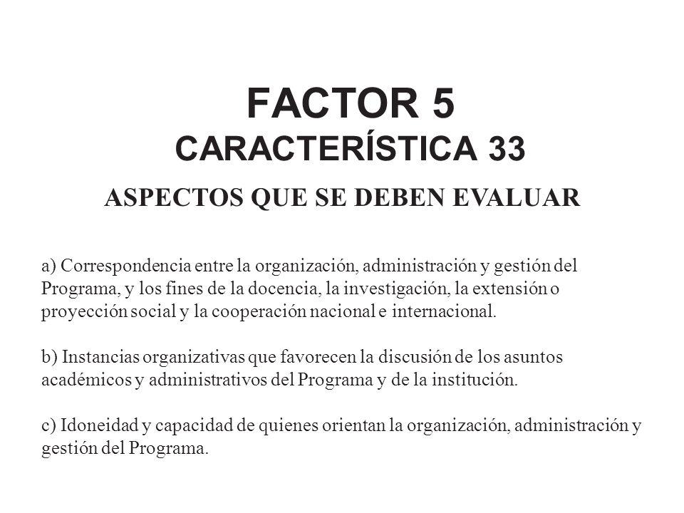 FACTOR 5 CARACTERÍSTICA 33 ASPECTOS QUE SE DEBEN EVALUAR a) Correspondencia entre la organización, administración y gestión del Programa, y los fines