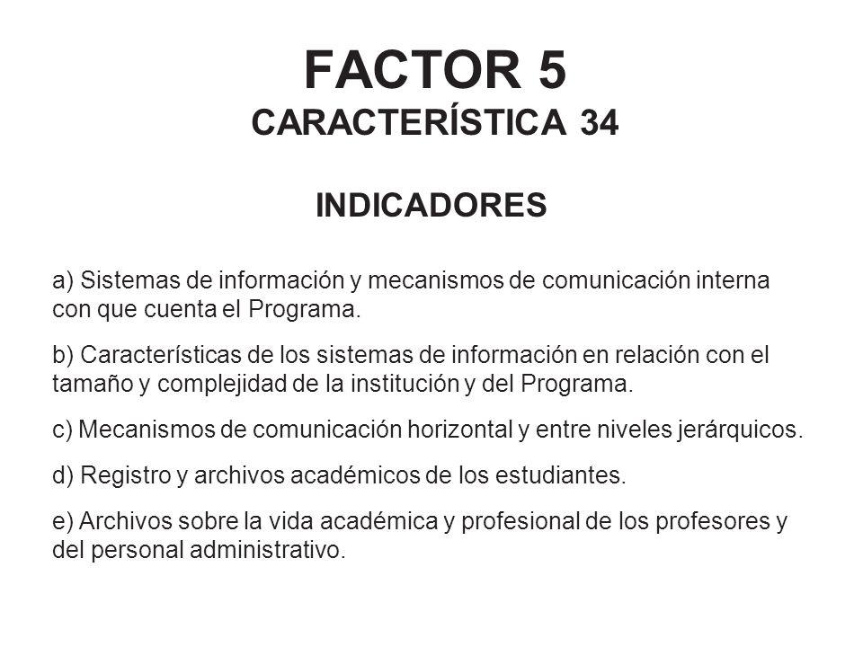 FACTOR 5 CARACTERÍSTICA 34 INDICADORES a) Sistemas de información y mecanismos de comunicación interna con que cuenta el Programa. b) Características