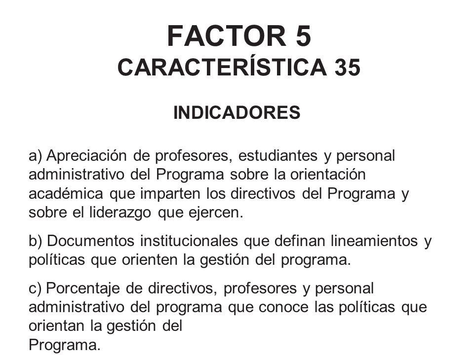 FACTOR 5 CARACTERÍSTICA 35 INDICADORES a) Apreciación de profesores, estudiantes y personal administrativo del Programa sobre la orientación académica