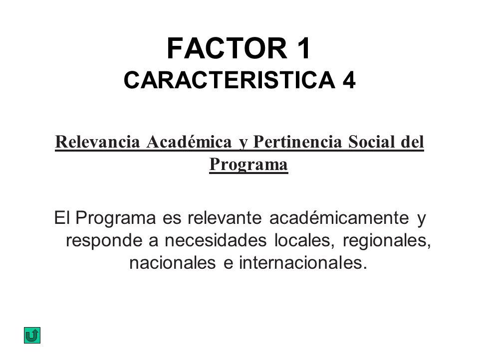 FACTOR 1 CARACTERISTICA 4 Relevancia Académica y Pertinencia Social del Programa El Programa es relevante académicamente y responde a necesidades loca
