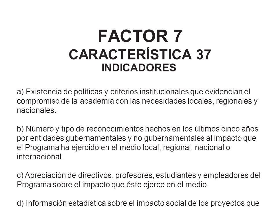 FACTOR 7 CARACTERÍSTICA 37 INDICADORES a) Existencia de políticas y criterios institucionales que evidencian el compromiso de la academia con las nece