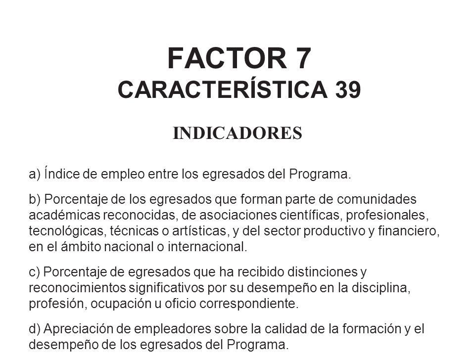 FACTOR 7 CARACTERÍSTICA 39 INDICADORES a) Índice de empleo entre los egresados del Programa. b) Porcentaje de los egresados que forman parte de comuni