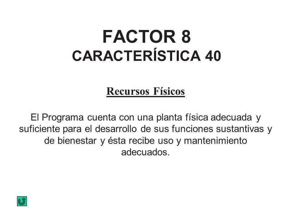 FACTOR 8 CARACTERÍSTICA 40 Recursos Físicos El Programa cuenta con una planta física adecuada y suficiente para el desarrollo de sus funciones sustant