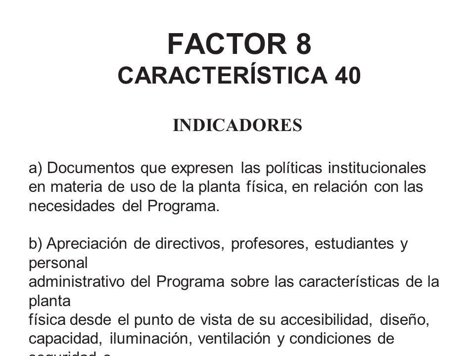 FACTOR 8 CARACTERÍSTICA 40 INDICADORES a) Documentos que expresen las políticas institucionales en materia de uso de la planta física, en relación con