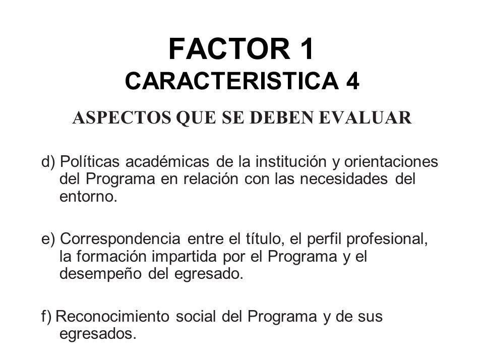 FACTOR 1 CARACTERISTICA 4 ASPECTOS QUE SE DEBEN EVALUAR d) Políticas académicas de la institución y orientaciones del Programa en relación con las nec