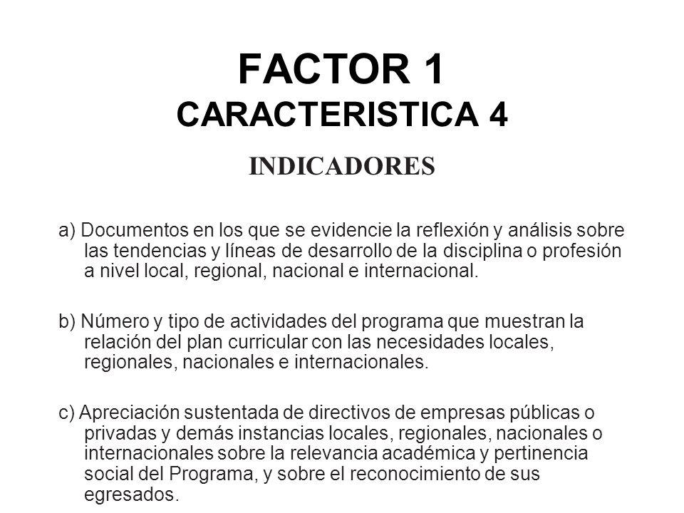 FACTOR 1 CARACTERISTICA 4 INDICADORES a) Documentos en los que se evidencie la reflexión y análisis sobre las tendencias y líneas de desarrollo de la