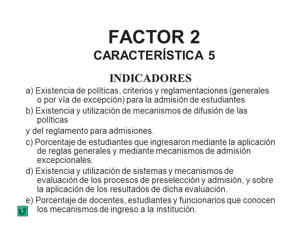 FACTOR 2 CARACTERÍSTICA 5 INDICADORES a) Existencia de políticas, criterios y reglamentaciones (generales o por vía de excepción) para la admisión de