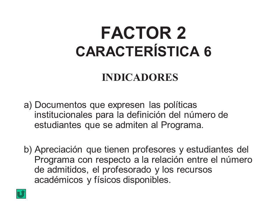 FACTOR 2 CARACTERÍSTICA 6 INDICADORES a) Documentos que expresen las políticas institucionales para la definición del número de estudiantes que se adm