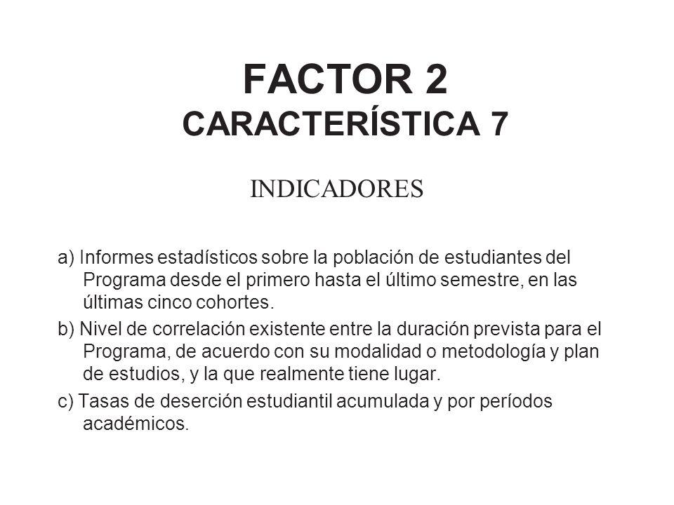 FACTOR 2 CARACTERÍSTICA 7 INDICADORES a) Informes estadísticos sobre la población de estudiantes del Programa desde el primero hasta el último semestr