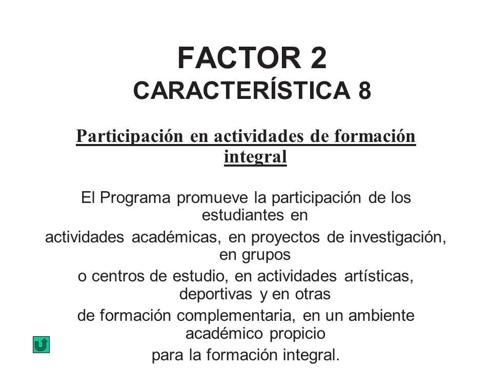 FACTOR 2 CARACTERÍSTICA 8 Participación en actividades de formación integral El Programa promueve la participación de los estudiantes en actividades a