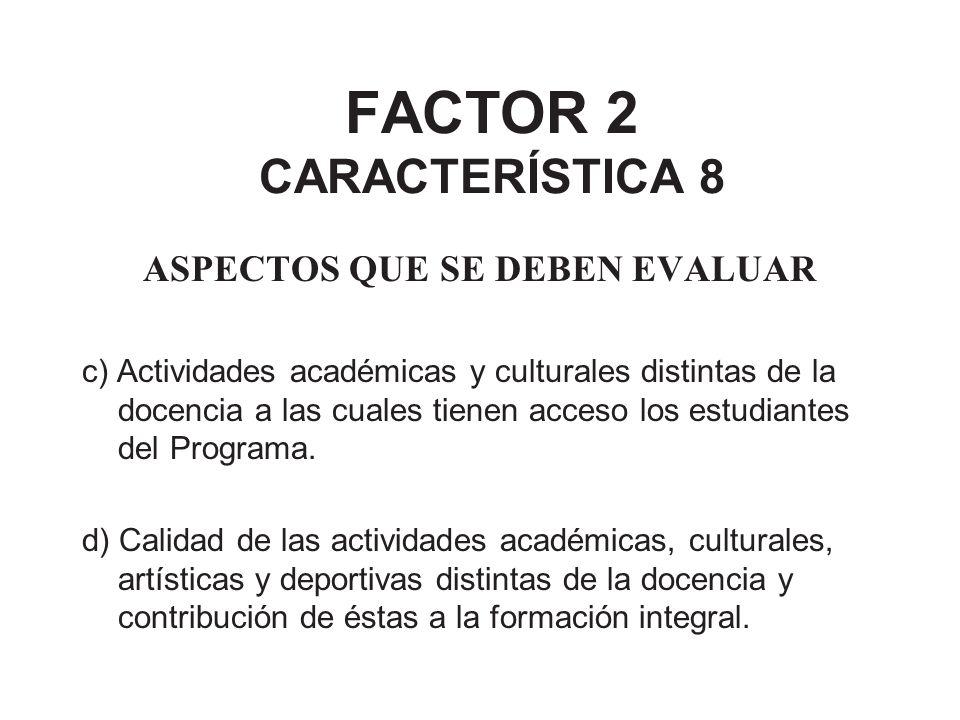 FACTOR 2 CARACTERÍSTICA 8 ASPECTOS QUE SE DEBEN EVALUAR c) Actividades académicas y culturales distintas de la docencia a las cuales tienen acceso los