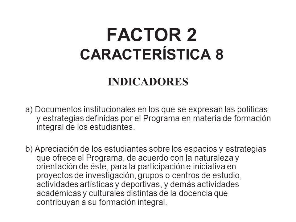 FACTOR 2 CARACTERÍSTICA 8 INDICADORES a) Documentos institucionales en los que se expresan las políticas y estrategias definidas por el Programa en ma