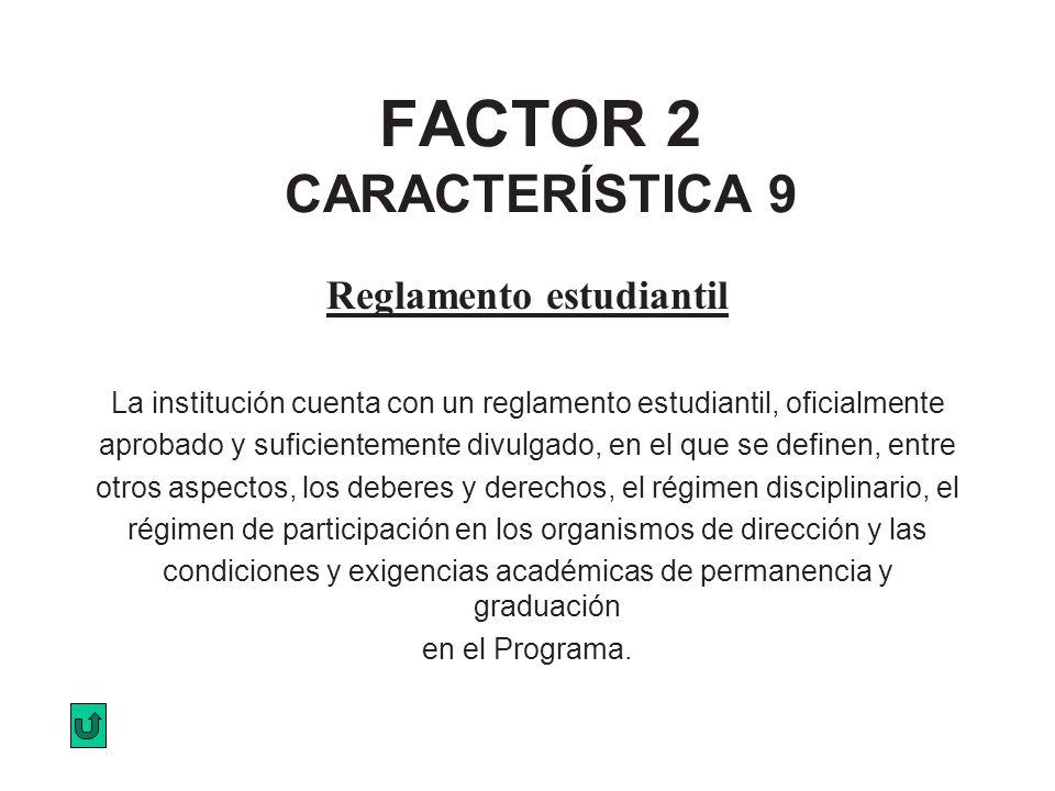 FACTOR 2 CARACTERÍSTICA 9 Reglamento estudiantil La institución cuenta con un reglamento estudiantil, oficialmente aprobado y suficientemente divulgad