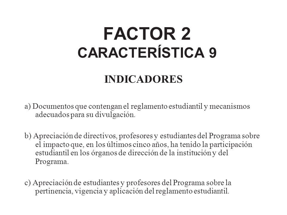 FACTOR 2 CARACTERÍSTICA 9 INDICADORES a) Documentos que contengan el reglamento estudiantil y mecanismos adecuados para su divulgación. b) Apreciación