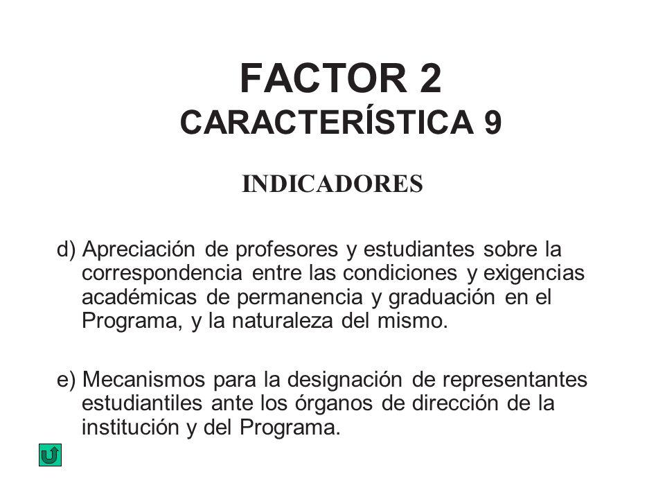 FACTOR 2 CARACTERÍSTICA 9 INDICADORES d) Apreciación de profesores y estudiantes sobre la correspondencia entre las condiciones y exigencias académica